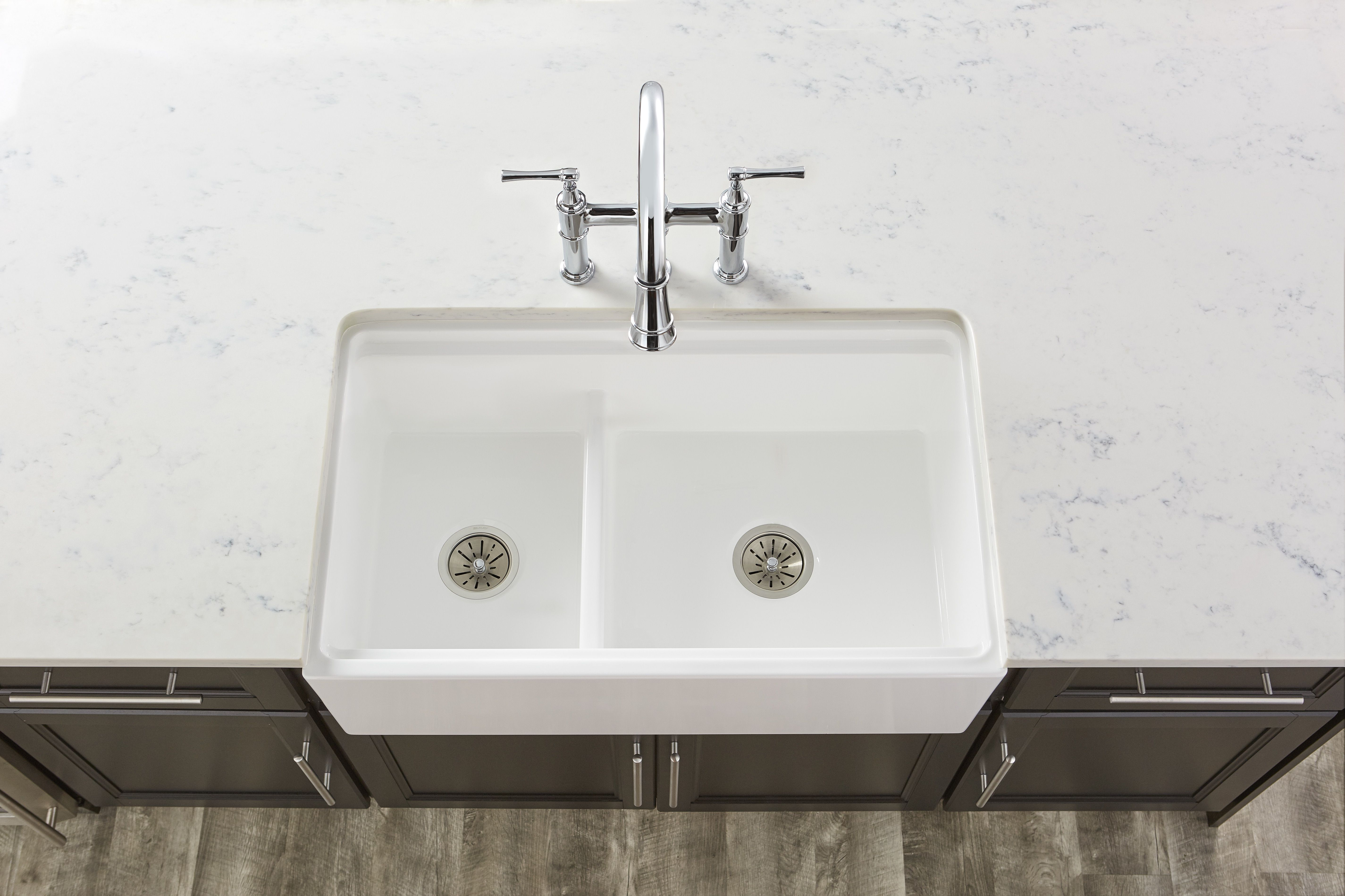 Explore Three Hole Bridge Faucet with Pull-down Spray and Lever ...