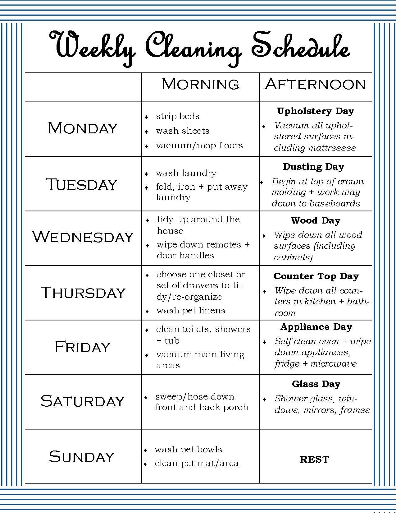 The Mrs With The Dishes Weekly Cleaning Schedule A