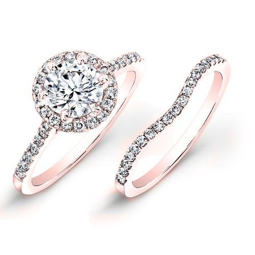 petite rose gold pave halo engagement ring and band...for under $2,000 on