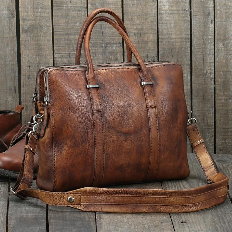Handmade Vintage Brown Leather Briefcase Men S Business Bag