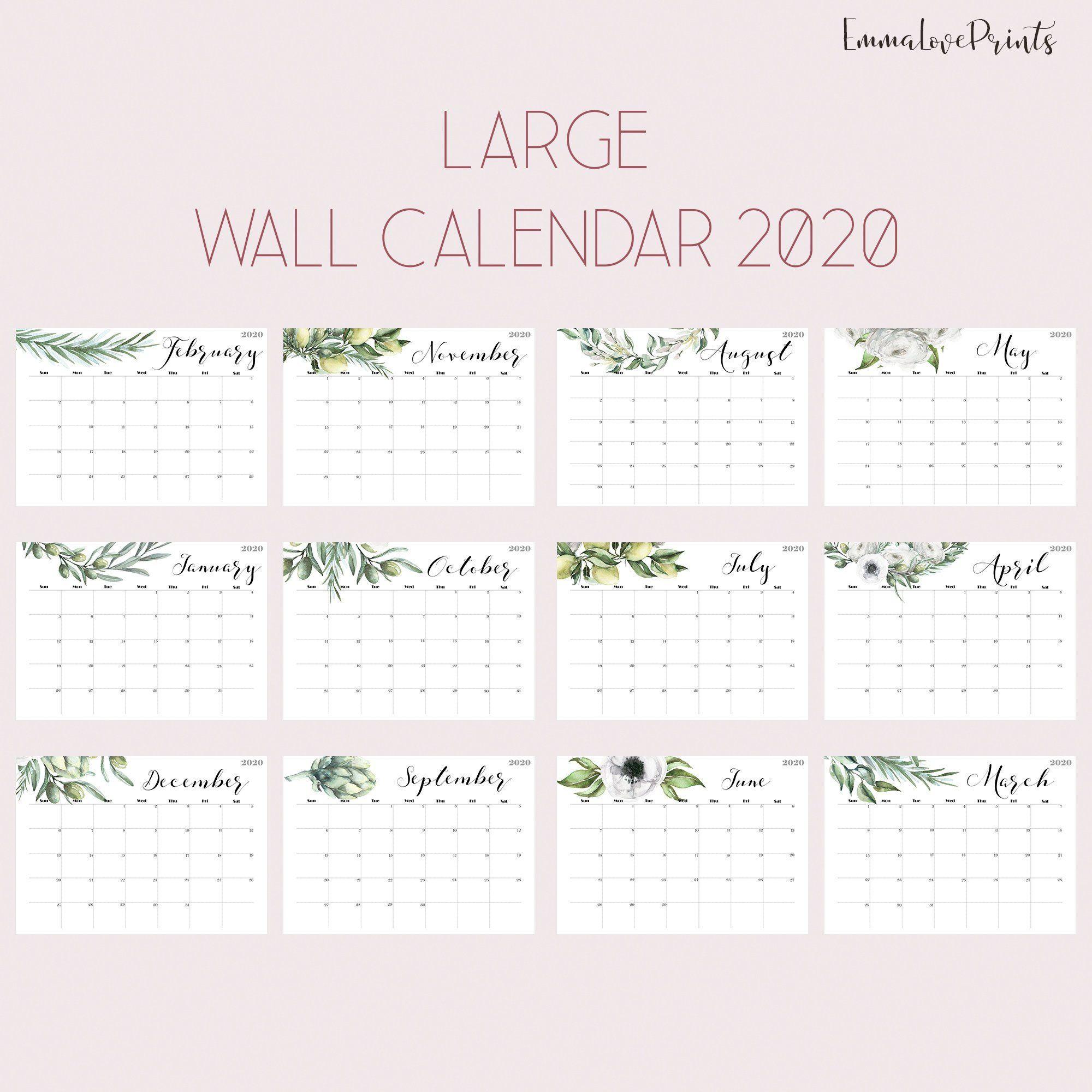 Botanical Wall Calendar, Watercolour Calendar 2020, Wall