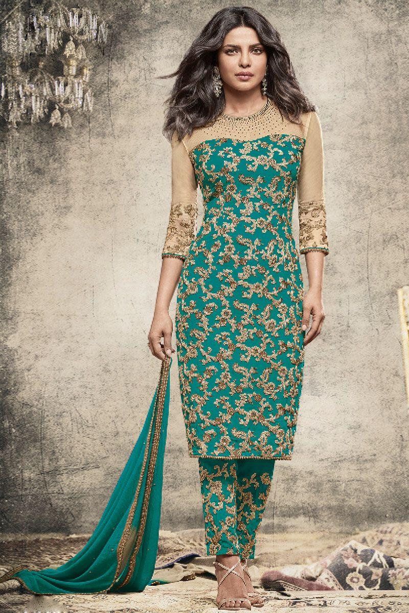 b4869219a Rama Green and Gold Embroidered Pant Style Priyanka Chopra Indian Designer  Salwar Suit
