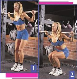 SUPERSET Smith Machine Squat 3 sets of 30 reps, place a plate under the  heels to emphasize quads