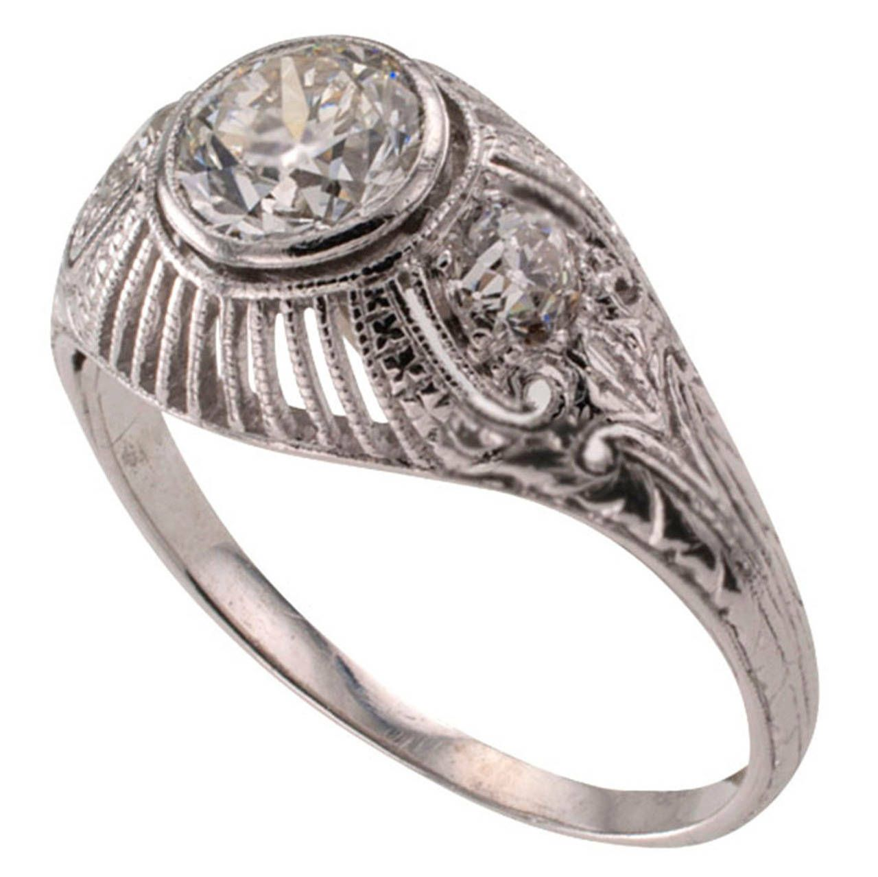 Edwardian threestone diamond platinum engagement ring platinum