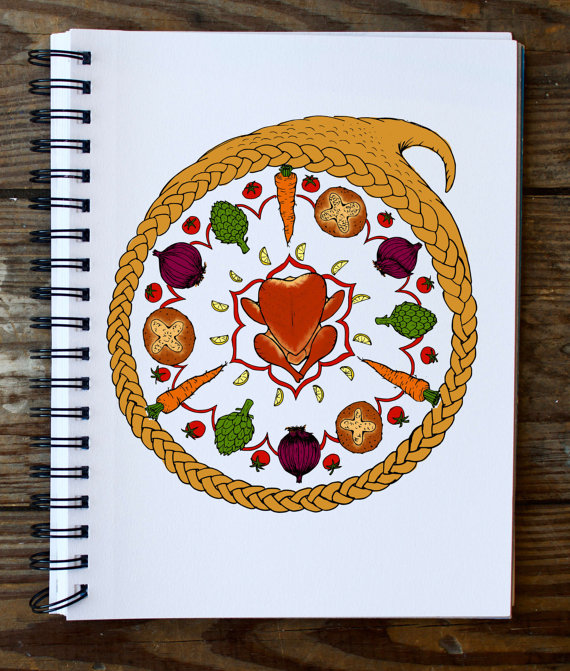 Thanksgiving Dinner Cornucopia Mandala Coloring Page ...