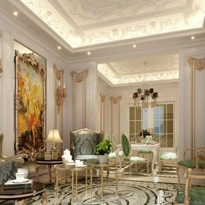 Classic French Interior Design With False Ceiling And Classic Chairs And  Table , French Interior Design