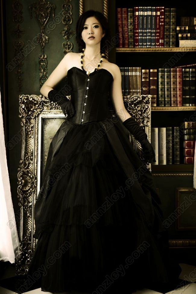 Elegant long gothic black evening prom skirts annzley for Corset for wedding dress plus size