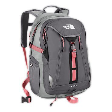 Women's North Face Surge backpack - probably the right size. Absolutely the right color scheme. Need to find a less expensive version of this.