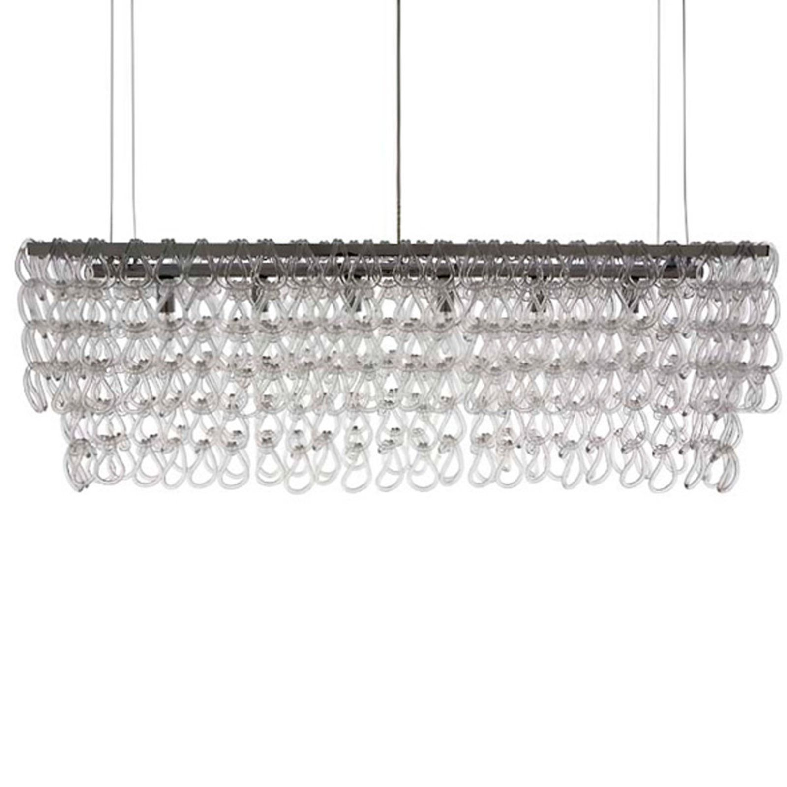 Rectangular Glass Chain Island Chandelier