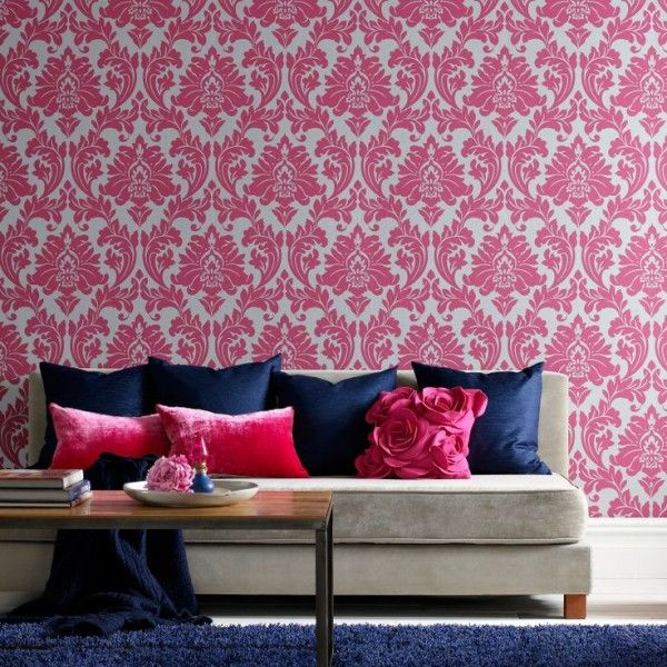 Fuschia and Navy -- Graham and Brown Superfresco Easy Majestic ...