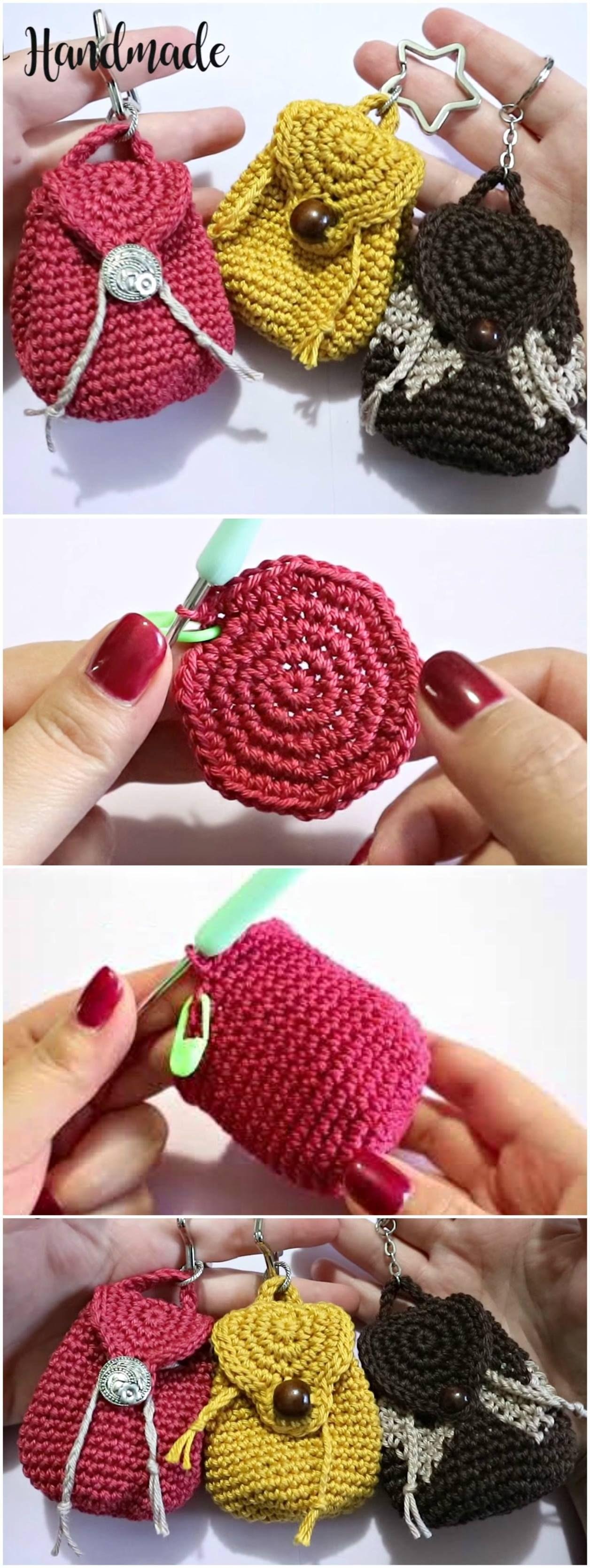 Crochet Mini Backpack Purse | Häkeln, Handarbeiten und Stricken