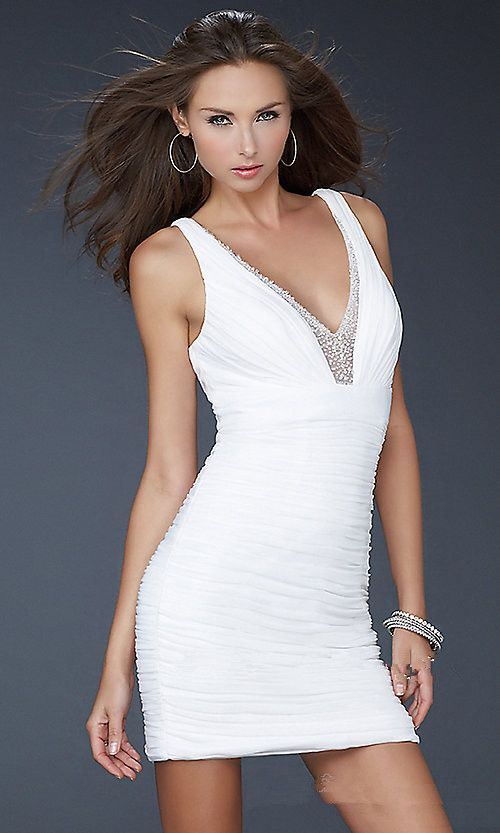 White Short Pleated Sequins Prom Dress On Sale White Homecoming