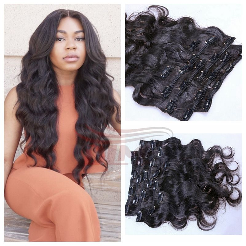 Clip In Human Hair Extensions Wavy Malaysian Virgin Hair Clip Ins