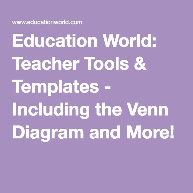 Education World: Teacher Tools & Templates - Including the Venn Diagram and More!