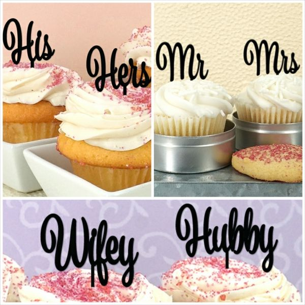 His & Hers, Mr & Mrs, Hubby & Wifey Cupcakes, Custom Cupcake Toppers