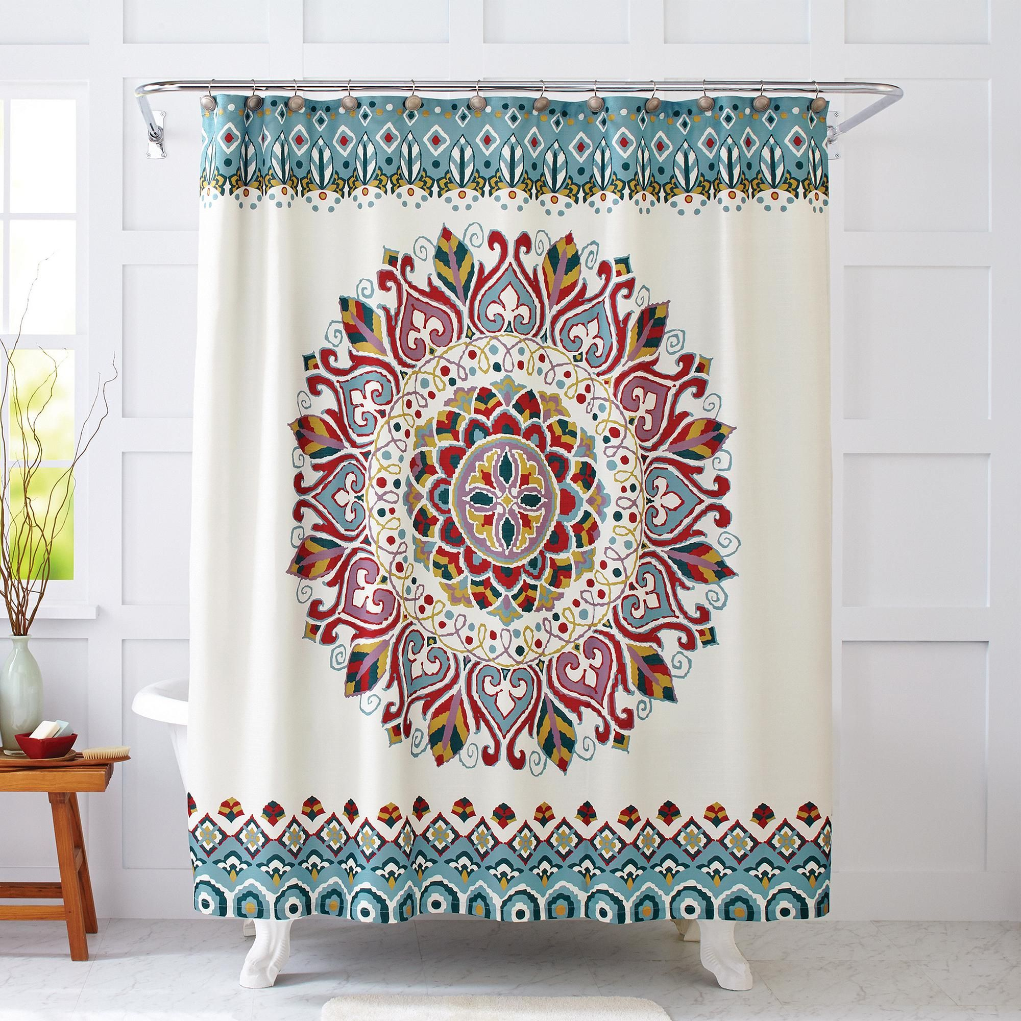 Better Homes and Gardens Medallion Fabric Shower Curtain - Walmart ...