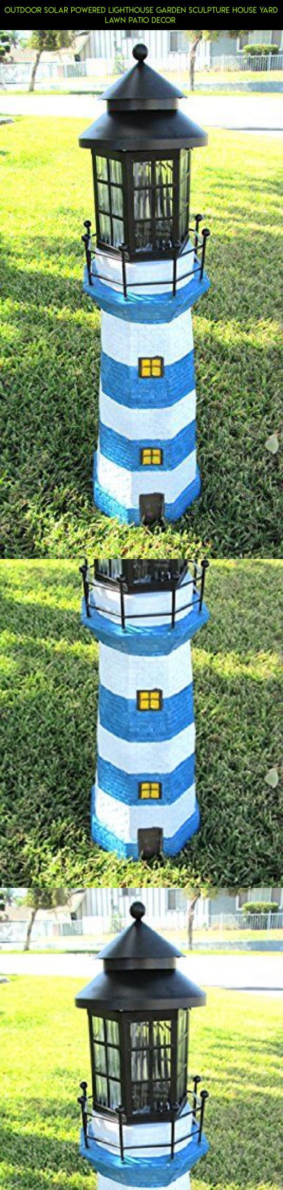 Outdoor Solar Powered Lighthouse Garden Sculpture House Yard Lawn ...