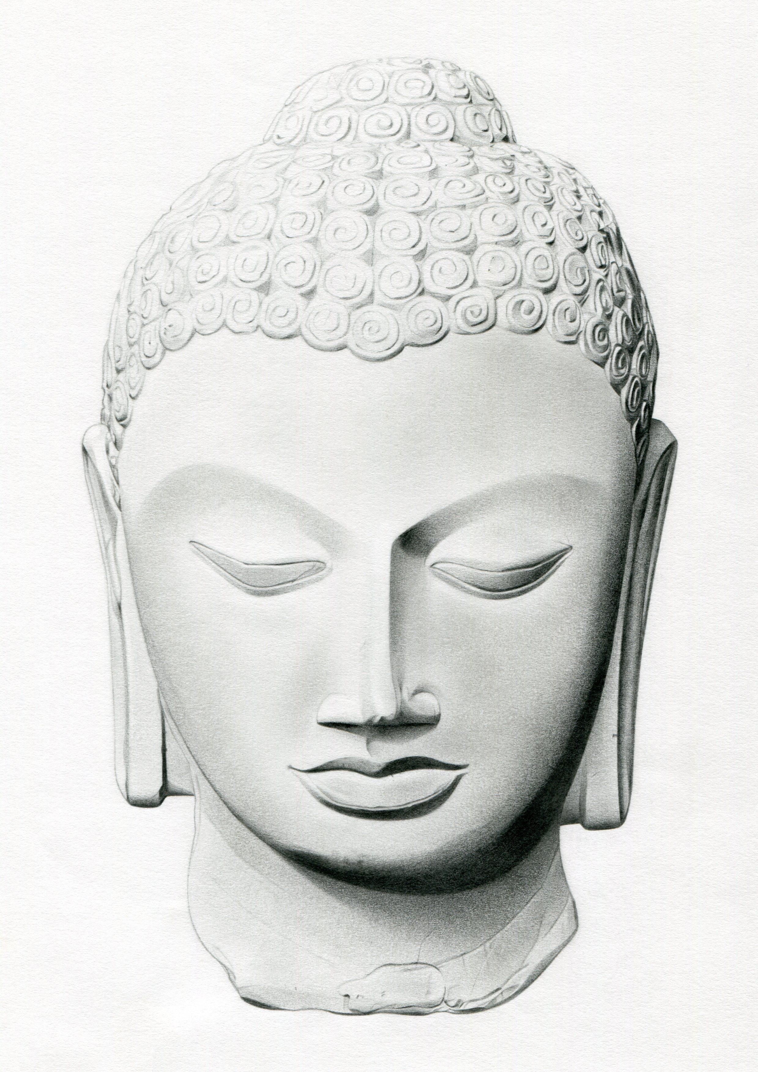 Pencil drawing of a buddha head statue