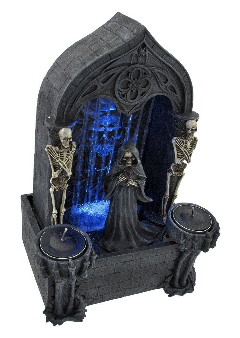 Tabletop skeleton fountain of death candle holder home decor