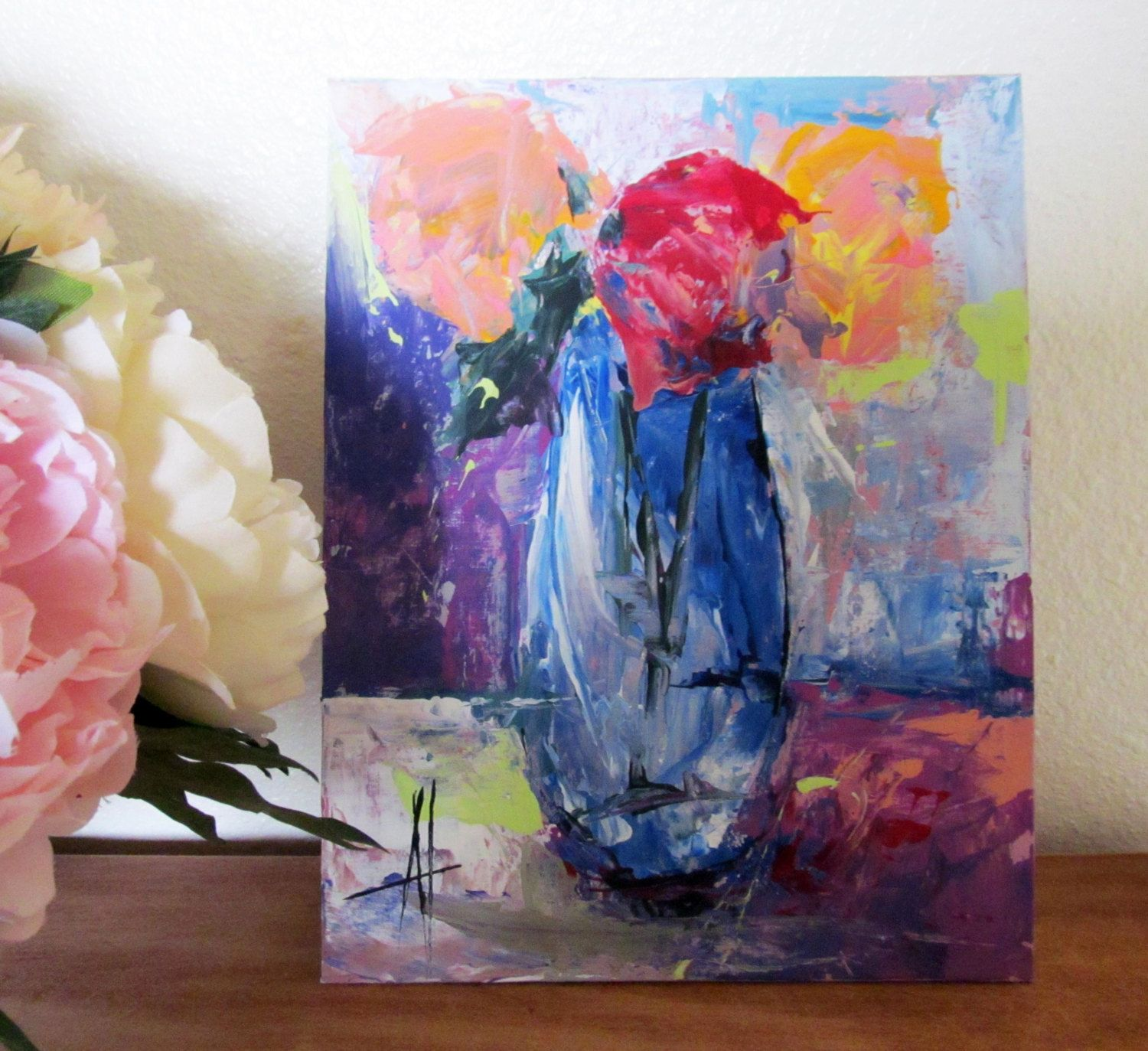 Roses in Blue Vase Original Contemporary Palette Knife Acrylic Painting 8x10 inches Canvas Board by Anne Thouthip Free Shipping USA by AnneThouthipFineArt on Etsy