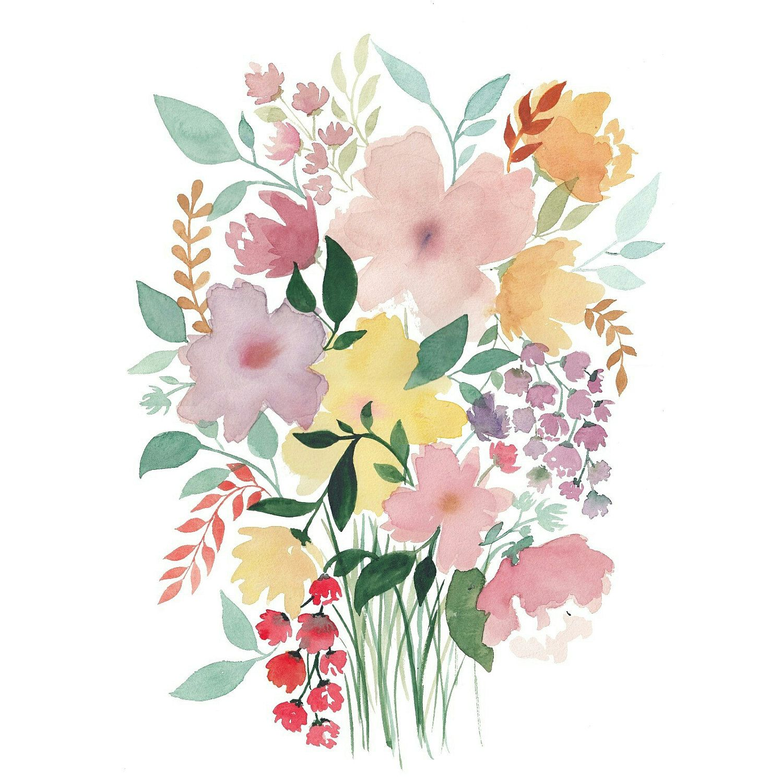 Spring flowers print watercolor flower bouquet wall art for Spring flowers watercolor