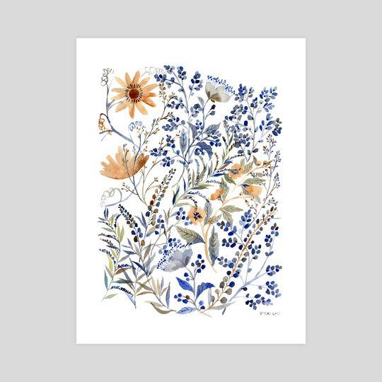 Watercolor Flowers , an art print by Vikki Chu