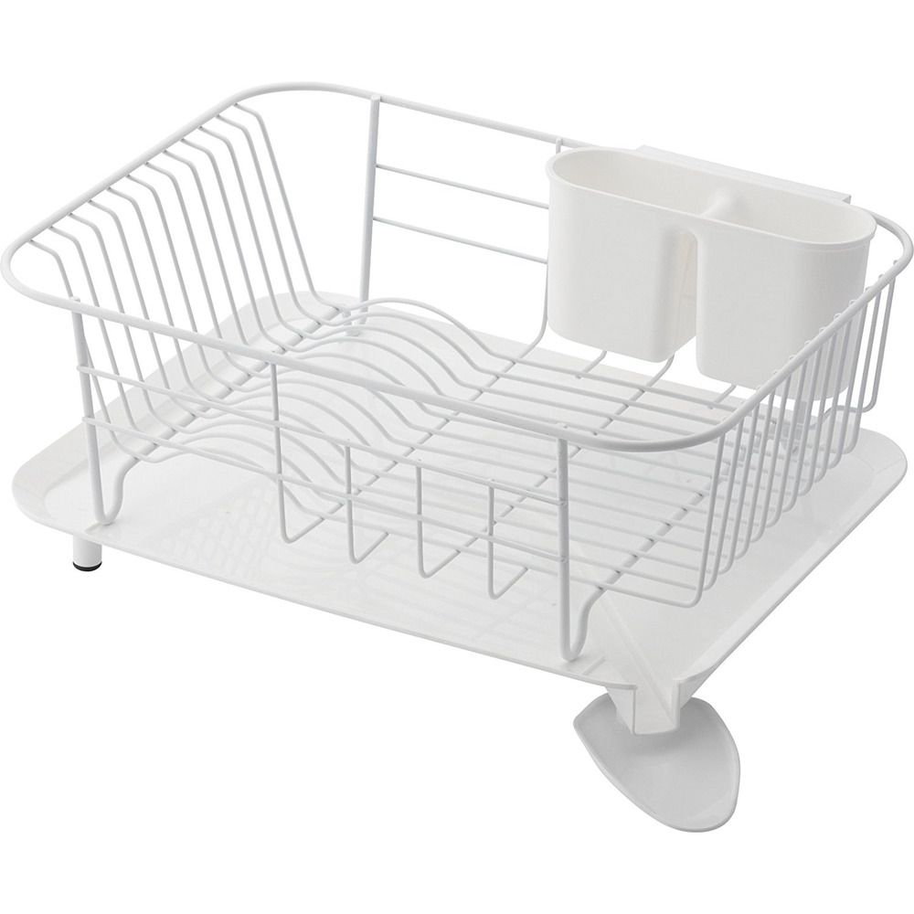 Dish Rack Stand White Steel Drainer Tray Drip Made In Japan Rst