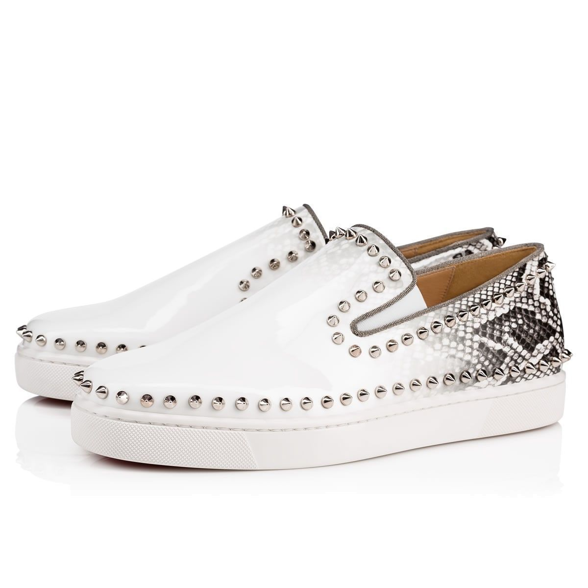 c06c3928f14 Pik Boat Men s Flat White-Roccia Silver Patent - Men Shoes - Christian  Louboutin