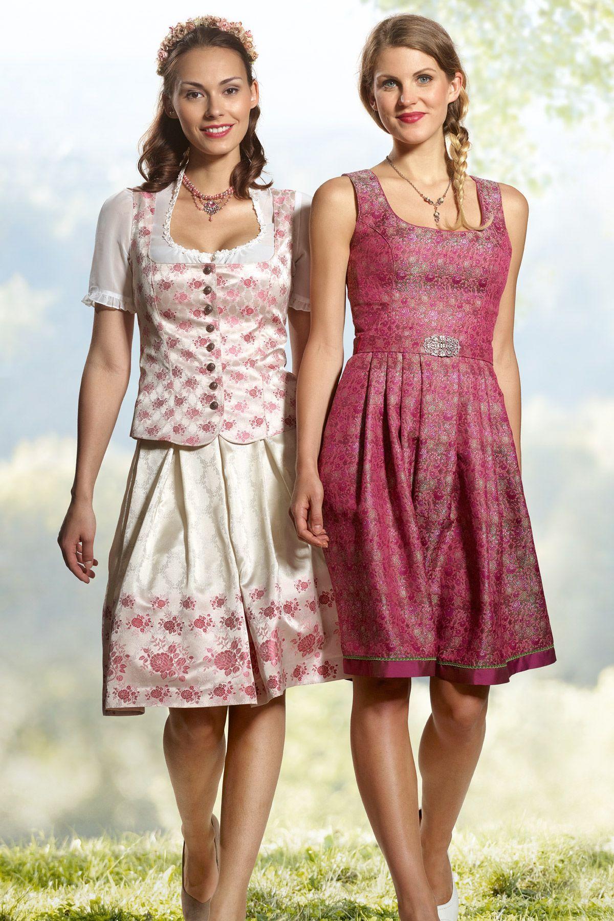 trachtenrock und corsage weiss-rosa mit blumenmuster