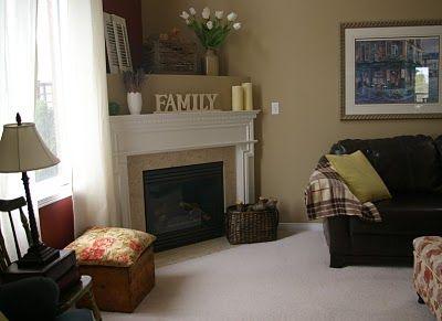 corner fireplace - I like the double decker look. I would ...