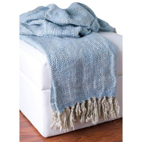 Kyria Loose Weave Light Blue And Gray Throw Blanket 40 Acrylic Interesting Light Gray Throw Blanket