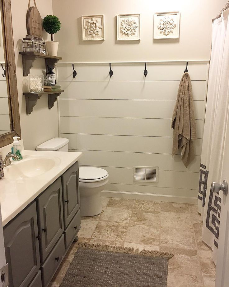 Shiplap half wall bathroom makeover Modern farmhouse