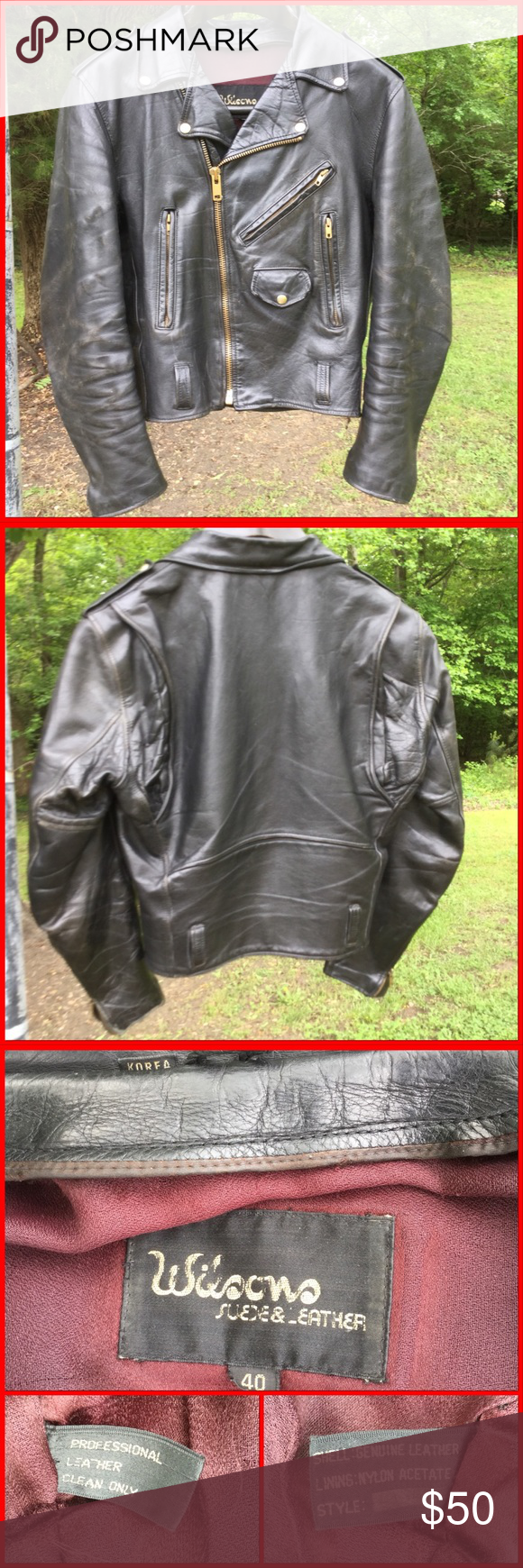 Vtg. Leather Motorcycle Jacket Leather motorcycle jacket