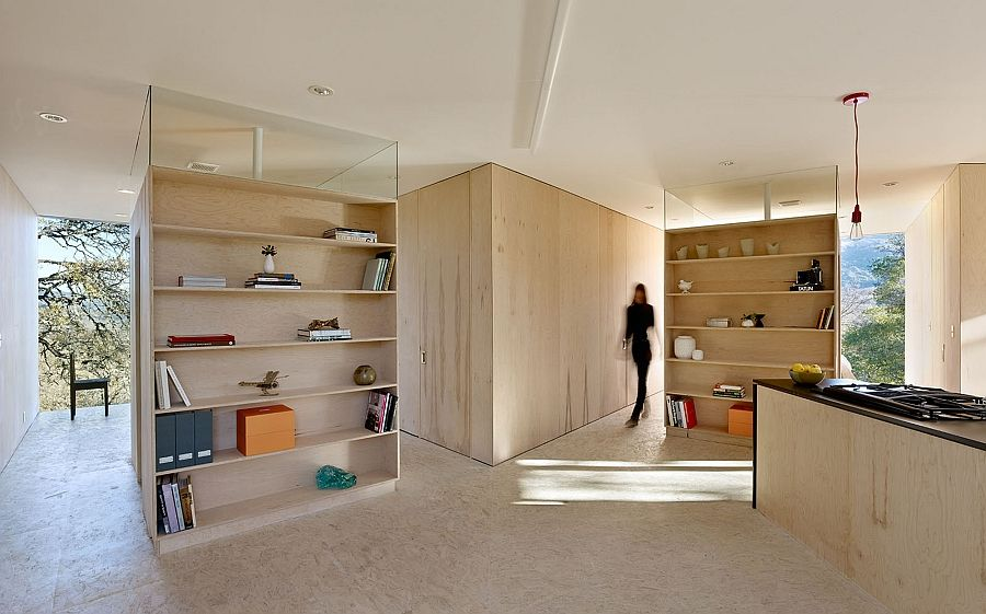 House  Interior in unfinished plywood