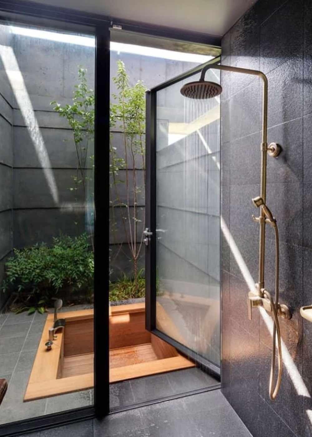 Green Bathroom Ideas How To Create An Eco Friendly Bathroom In 2020 Outdoor Bathroom Design Indoor Outdoor Bathroom Outdoor Bathrooms