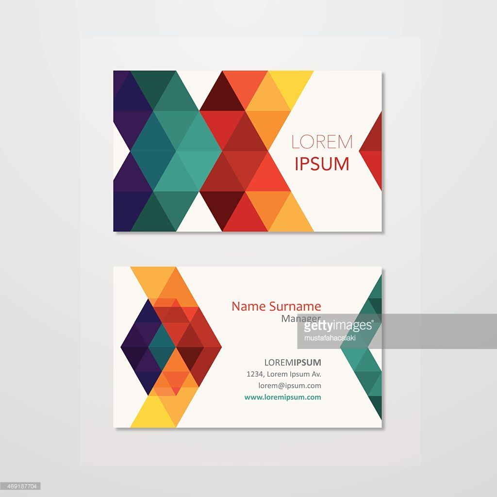 Business card design with retro triangles. EPS10. Contains blending ...