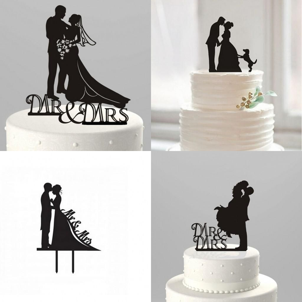 Hot fashion kissing bride u groom funny cake topper mr and mrs
