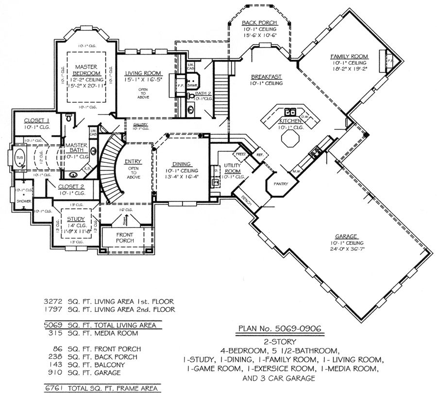 6 Bedroom Single Family House Plans