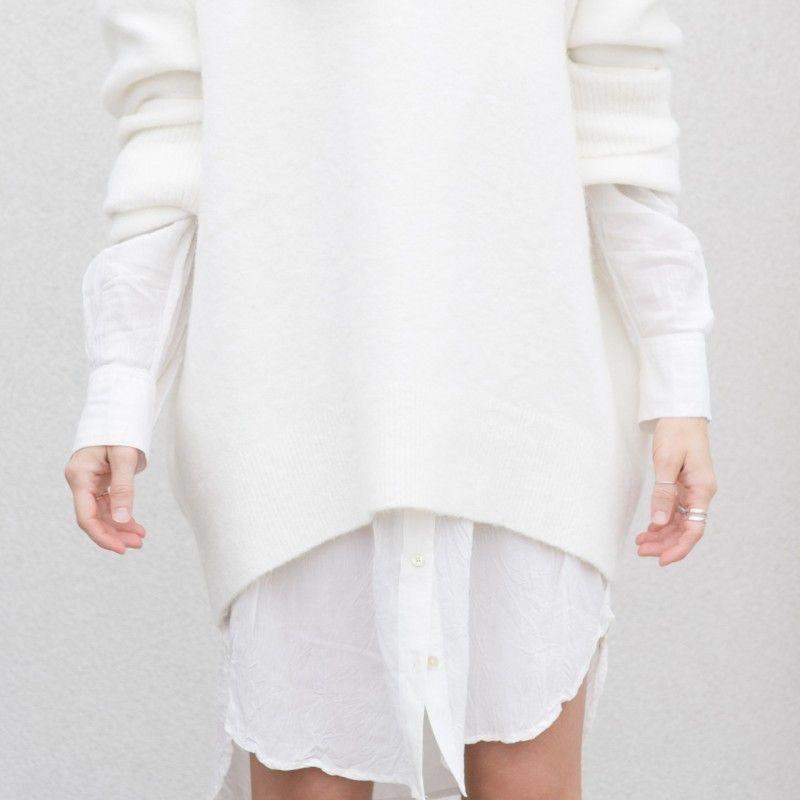 white sweater   white shirt dress. pretty.   CLASSICS ...