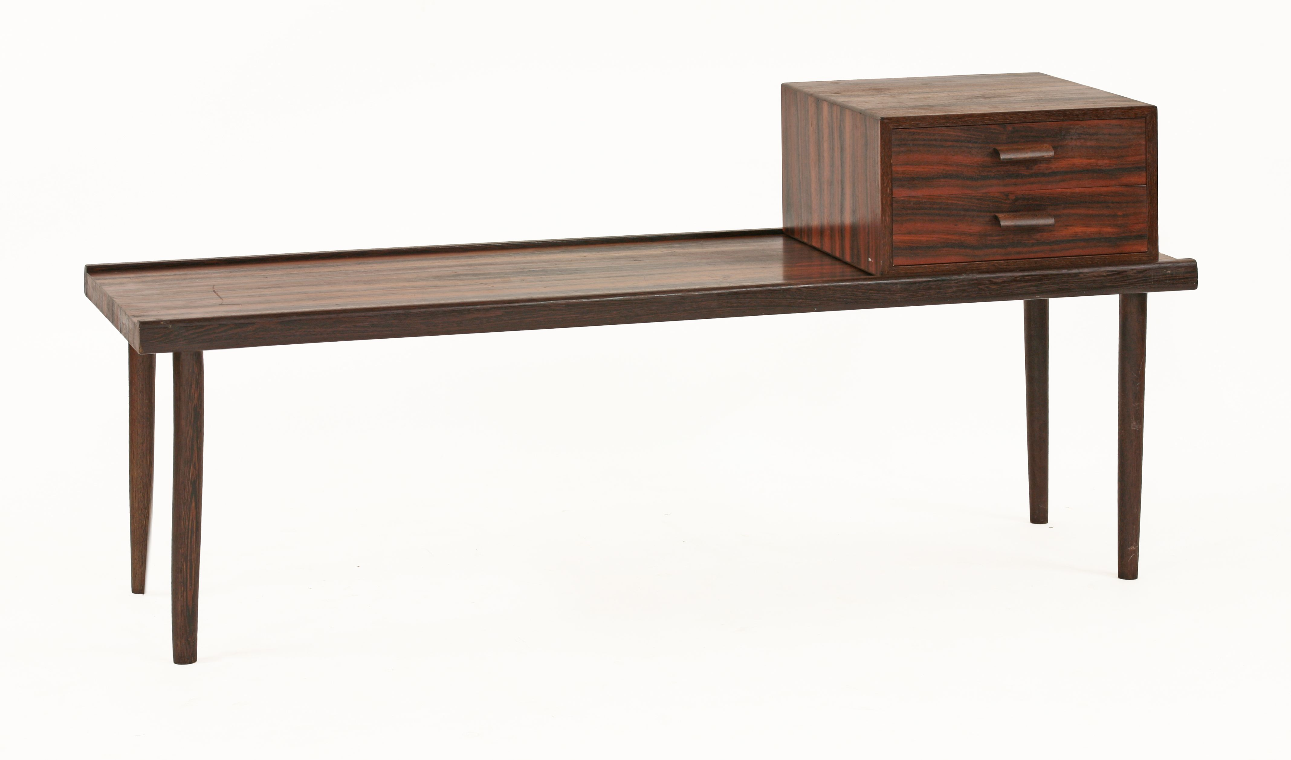 A Danish Rosewood And Wenge Wood Telephone Table, The Oblong Table With  Rail Sides,