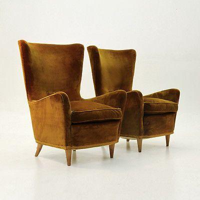 Coppia di Poltrone anni '50, armchairs, fauteuils, Gio ...