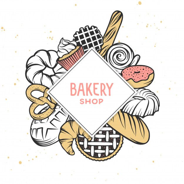 Download Set Of Vector Bakery Engraved Elements. in 2020 | Elements ...