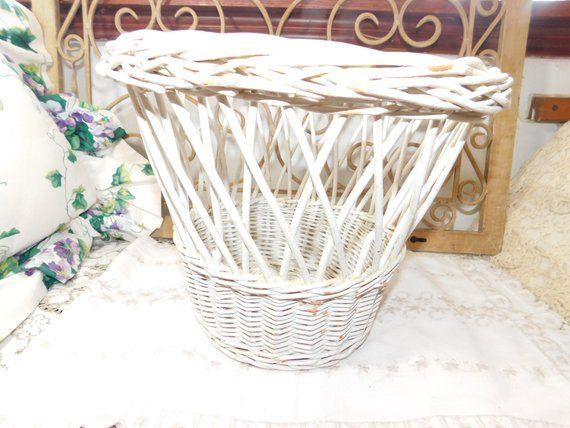 Wicker Trash Can Waste Basket Wicker Planter Country Decor ...