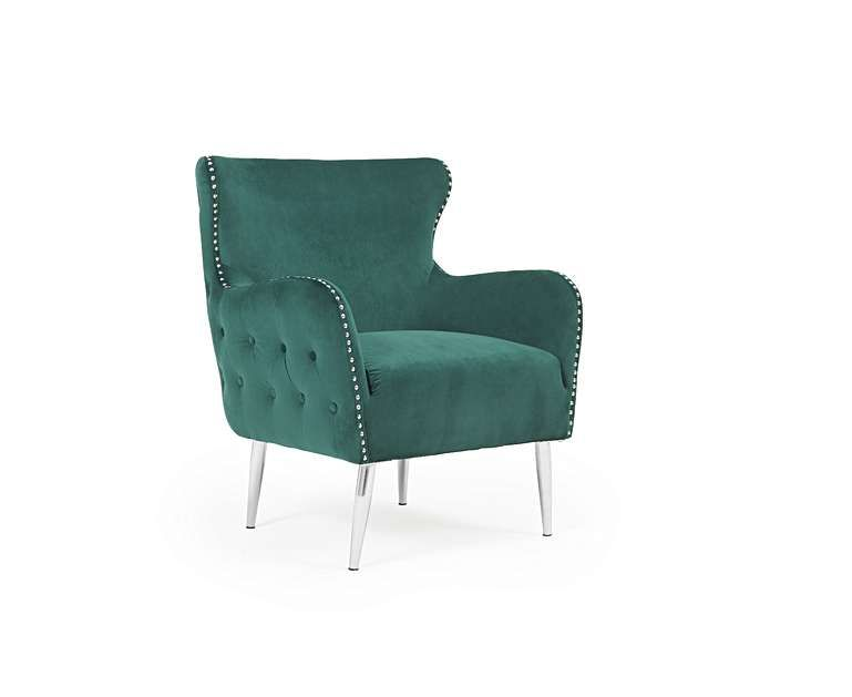 Carter Accent Chair In Green Velvet On Gold Stainless W Round