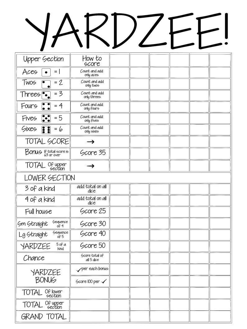 Printable 18x24 yardzee score card file sill in the blank