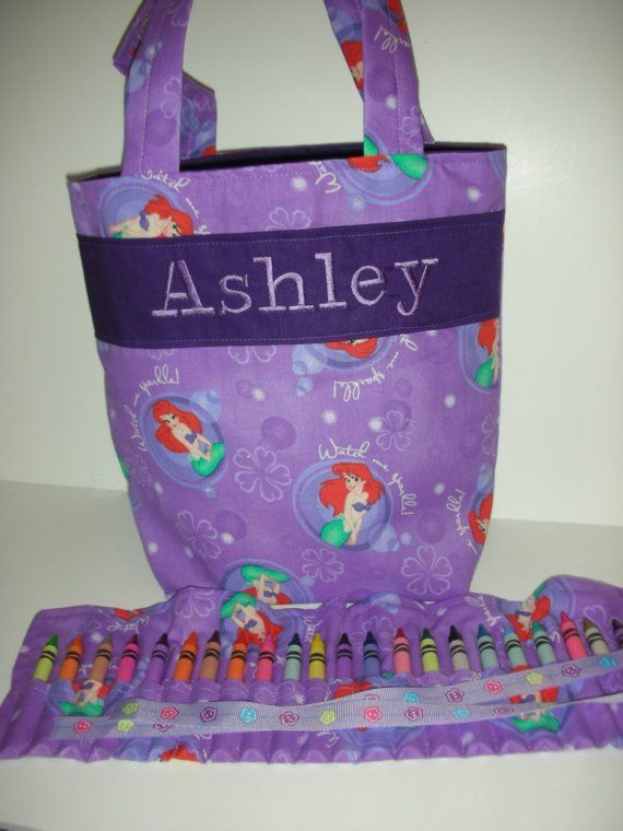 Lil Mermaid Kids Tote with Crayon Roll and by LBsSewingSanity, $24.95