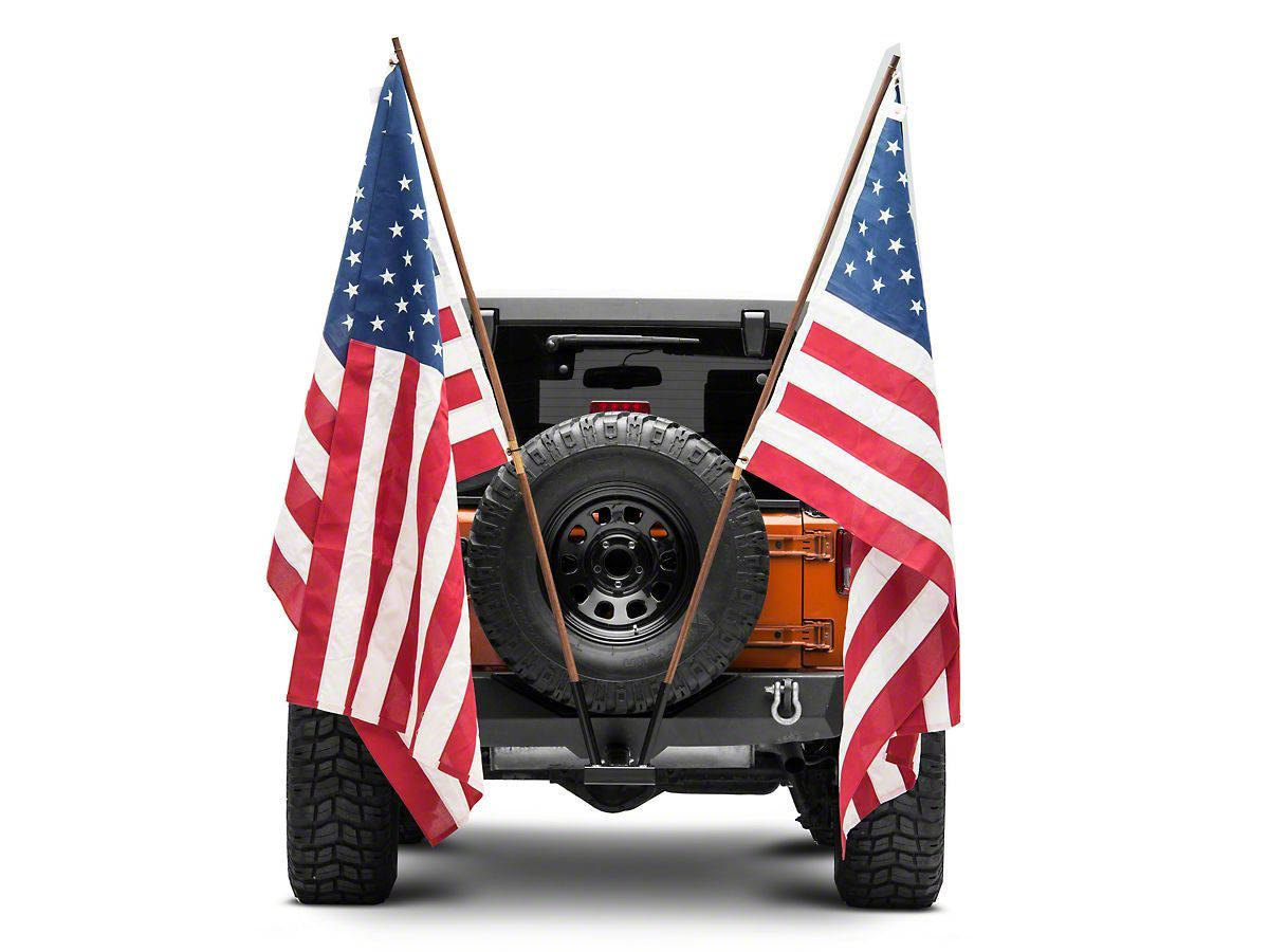Steinjager Jeep Wrangler Hitch Mounted Dual Flag Holder Black J0045891 Universal Fitment Jeep Wrangler Jeep Jeep Wrangler Yj