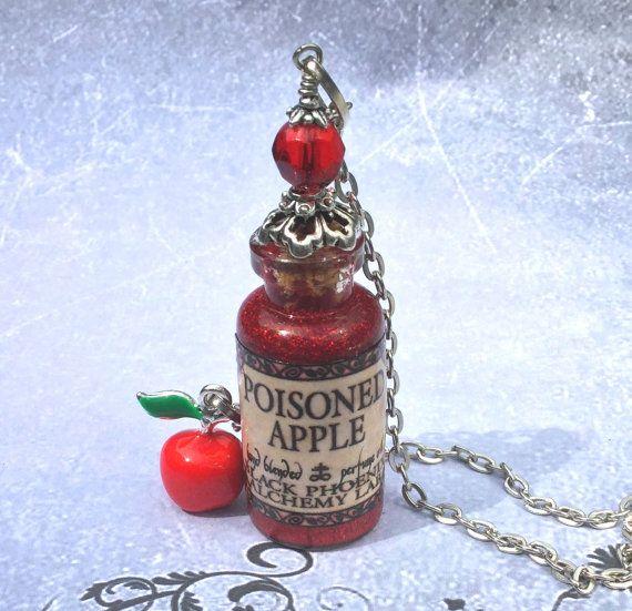 Poison Apple Potion Glass Bottle Pendant by AdornaJewellery