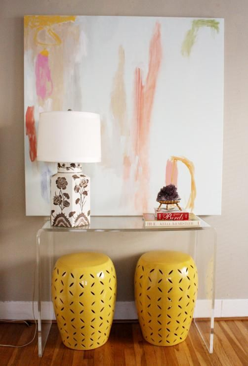 Colorful Modern Vignette. Garden Stools + Abstract Art By Lindsey Meyer +  Lucite Console Nice Look