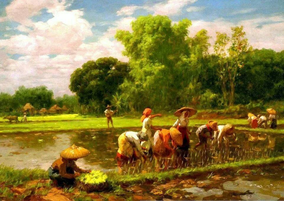 planting rice by Amorsolo my Philippines Pinterest Rice